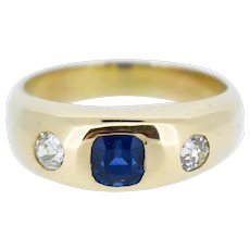Antique Old Cut Diamond and Blue Sapphire 18K 18ct Yellow Gold Gypsy Ring Band