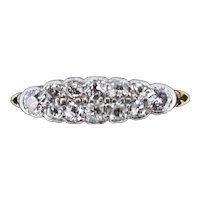 Antique Old Cut Diamond 12 Stone Double Row 18K 18ct Yellow Gold Scroll Ring