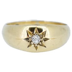 Antique Old Cut Diamond Starburst Solitaire Gypsy 18ct Gold Ring Band Birmingham 1912