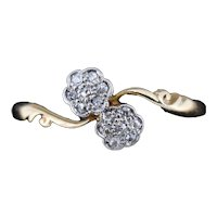 Antique Diamond Cluster Flower Daisy 18ct 18K Yellow Gold Double Twist Ring