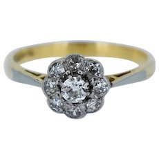 Antique Old Cut Diamond Daisy Halo Cluster 18ct 18K Yellow Gold and Platinum Ring