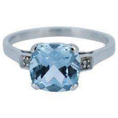 Blue Topaz and Diamond Briolette Cushion Cut 9ct 9K White Gold Ring