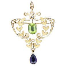 Antique Edwardian Amethyst Peridot and Pearl Lavalier 9ct 9K Yellow Gold Pendant and Brooch
