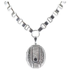 Antique Aesthetic Large Sterling Silver Locket and Collar Necklace Birmingham 1880