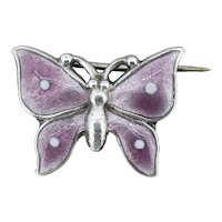 Antique Purple Enamel Sterling Silver Small Butterfly Insect Brooch Pin