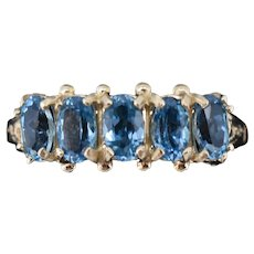 Blue Topaz Five Stone 9ct 9K Yellow Gold Ring Band Antique Vintage Style