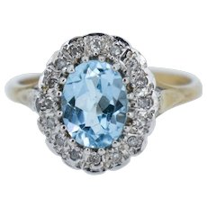 Blue Topaz and Diamond Oval Halo Cluster 9ct 9K Yellow Gold Ring