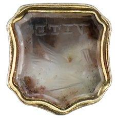 Antique Bird and Letter 'VITE' Citrine Intaglio Gold Cased Ornate Fob Seal Charm