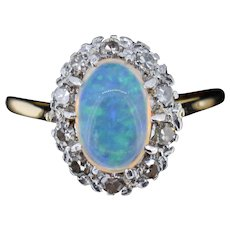 Antique Natural Opal and Diamond Oval Halo Cluster 18ct 18K Yellow Gold and Platinum Ring