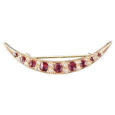 Antique Garnet and Rose Cut Diamond 18ct Yellow Gold Crescent Moon Celestial Brooch Pin