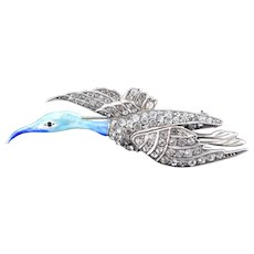 Antique Blue Enamel and Paste Silver Flying Bird Brooch Pin Art Deco Circa.1920