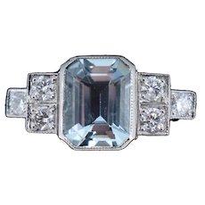 Emerald Cut 1.5ct Aquamarine and .30ct Diamond Platinum Ring Art Deco Style