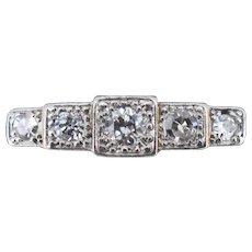 Art Deco Square Set Diamond Five Stone 18ct 18K Yellow Gold and Platinum Ring