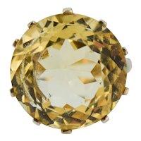 Vintage Round Citrine Statement Solitaire 9ct 9K Yellow Gold Ring