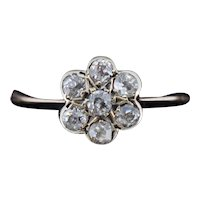 Antique Old Cut Diamond Daisy Halo Cluster 18ct 18K Gold Ring
