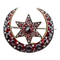 Antique Victorian Bohemian Garnet Crescent Moon and Star Brooch Pin