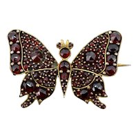 Antique Victorian Bohemian Garnet Gold Butterfly Insect Brooch Pin