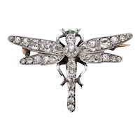 Antique Old Cut Paste Silver Dragonfly Insect Brooch Pin Victorian C.1890