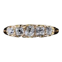 Antique Victorian Old Cut Diamond Five Stone 18ct Yellow Gold Scroll Ring