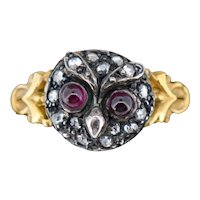 Rose Cut Diamond and Cabochon Garnet Owl 14ct 14K Yellow Gold and Silver Ring Antique Style