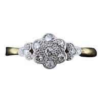 Antique Old Cut Diamond Cluster Flower Daisy 18ct Yellow Gold and Platinum Ring