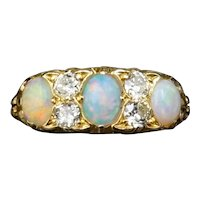 Antique Natural Opal & Old Cut Diamond 18ct Gold Scroll Ring