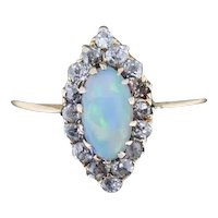 Antique Natural Opal and Old Cut Diamond Marquise Navette 18ct 18K Yellow Gold Ring Victorian