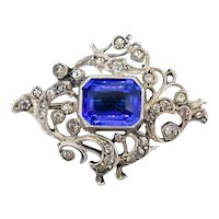 Antique Old Cut Paste and Blue Paste 935 Silver Fancy Brooch Pin