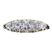 Antique Diamond Five Stone 18K 18ct Yellow Gold Scroll Ring with Diamond Spacers