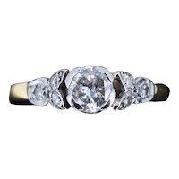 Art Deco Diamond Solitaire 18ct 18K Yellow Gold Ring Antique Engagement Ring