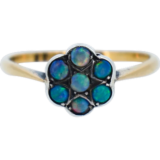 Antique Natural Opal Daisy Flower Cluster 22ct 22K Gold and Silver Ring