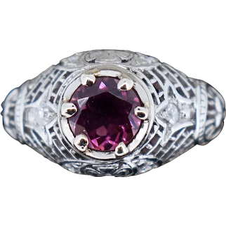 Art Deco Pink Tourmaline and Diamond Filigree Platinum Ring Antique Vintage