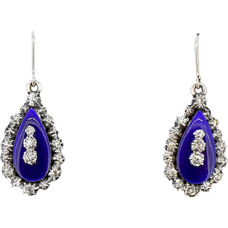 Antique Blue Enamel and Paste Gold and Silver Drop Dangle Earrings