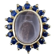 Vintage Sapphire and Rose Quartz Halo Cluster 10ct 10K Yellow Gold Ring