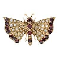 Vintage Garnet and Seed Pearl 9ct Yellow Gold Butterfly Insect Brooch Pin