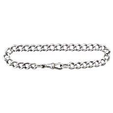 Antique Curb Link Sterling Silver Bracelet with Dog Clip Edwardian
