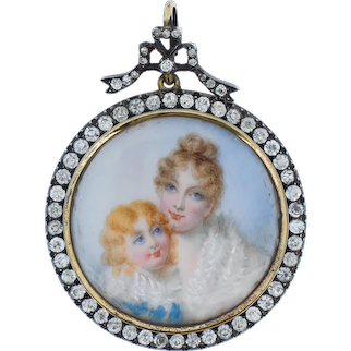 Antique Edwardian Old Cut Paste Sterling Silver Glass Portrait Bow Locket Pendant Mother and Daughter