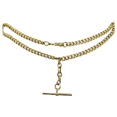 """Antique Albert Curb Watch Chain Rolled Gold Necklace Dog Clip with T-Bar 16"""""""