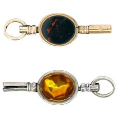 Antique Foiled Citrine and Bloodstone Gold Watch Key Fob Pendant Charm