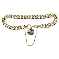 """Antique Curb Link Gold Fill Bracelet with Lucky Four Leaf Clover Charm 7"""""""