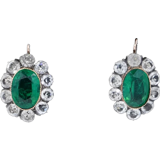 Antique French Old Cut Emerald Paste 18ct 18K Gold Cluster Earrings Victorian