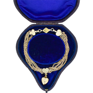 Antique Deck of Playing Cards 9ct 9K Yellow Gold Multi-Strand Bracelet Vintage