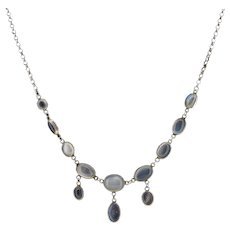Antique Moonstone Silver Drop Fringe Festoon Necklace Edwardian