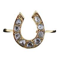 Antique Victorian Rose Cut Diamond Lucky Horseshoe Equestrian 15ct 15K Yellow Gold Ring