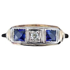 Art Deco French Cut Blue Sapphire and Diamond Three Stone 18ct 18K Gold Ring Antique