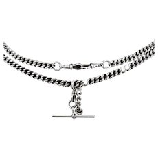 Antique Victorian Sterling Silver Heavy Double Albert Watch Curb Chain Necklace Birmingham 1899