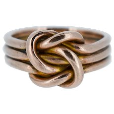Antique Lovers Knot 9ct 9K Gold Ring Band Birmingham 1896