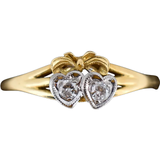Antique Diamond Twin Double Heart Bow 18ct 18K Yellow Gold Ring Edwardian