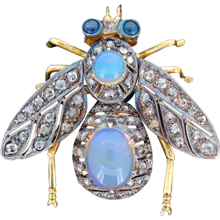 Opal Diamond and Sapphire Insect Bug 18ct 18K Yellow Gold and Silver Brooch Pin Antique Style