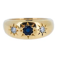 Vintage Sapphire and Diamond Starburst Three Stone Gypsy 18ct Gold Ring Band (6.1g)